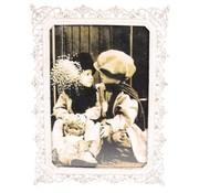 Fotolijstje met kronen wit Rechthoek - foto 10 x 15 cm