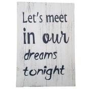 "Houten tekstbord ""let's meet"""