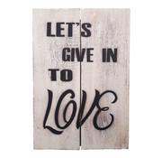 "Houten tekstbord ""let's give"""