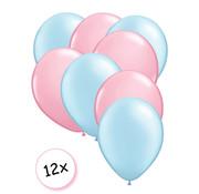 Joni's Winkel Premium Quality Ballonnen Baby Blauw & Baby Roze 12 stuks 30 cm