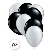 Joni's Winkel Premium Quality Ballonnen Zilver & Zwart 12 stuks 30 cm