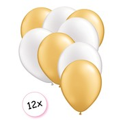 Joni's Winkel Premium Quality Ballonnen Goud & Wit 12 stuks 30 cm