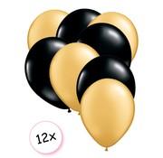 Joni's Winkel Premium Quality Ballonnen Goud & Zwart 12 stuks 30 cm