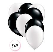 Joni's Winkel Premium Quality Ballonnen Wit & Zwart 12 stuks 30 cm