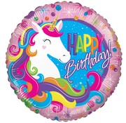 Conver USA Folieballon Happy Birthday Classic Unicorn 46 cm