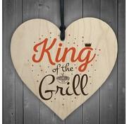 """Joni's Winkel Houten hanger 10x10 cm """"King of the grill"""""""