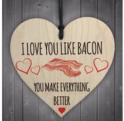 """Joni's Winkel Houten hanger 10x10 cm """"Like Bacon"""""""