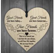"""Joni's Winkel Houten hanger 10x10 cm """"Good friends / Great friends"""""""
