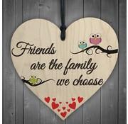 """Joni's Winkel Houten hanger 10x10 cm """"Friends are Family"""""""