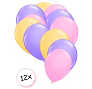 Joni's Winkel Premium Quality Ballonnen Pastel Roze, Pastel Paars & Pastel Geel 12 stuks 30 cm