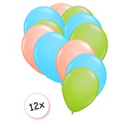 Joni's Winkel Premium Quality Ballonnen Pastel Groen, Pastel Blauw & Pastel Oranje 12 stuks 30 cm