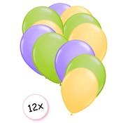 Joni's Winkel Premium Quality Ballonnen Pastel Geel, Pastel Groen & Pastel Paars 12 stuks 30 cm