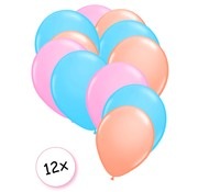 Joni's Winkel Premium Quality Ballonnen Pastel Oranje, Pastel Blauw & Pastel Roze 12 stuks 30 cm