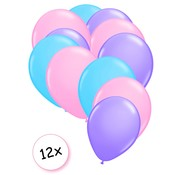 Joni's Winkel Premium Quality Ballonnen Pastel Paars, Pastel Roze & Pastel Blauw 12 stuks 30 cm