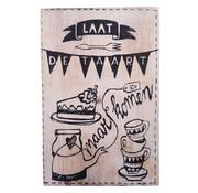 """Houten Postkaart """"Laat de taart"""""""