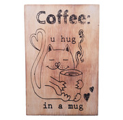 "Houten Postkaart ""U hug in a mug"""