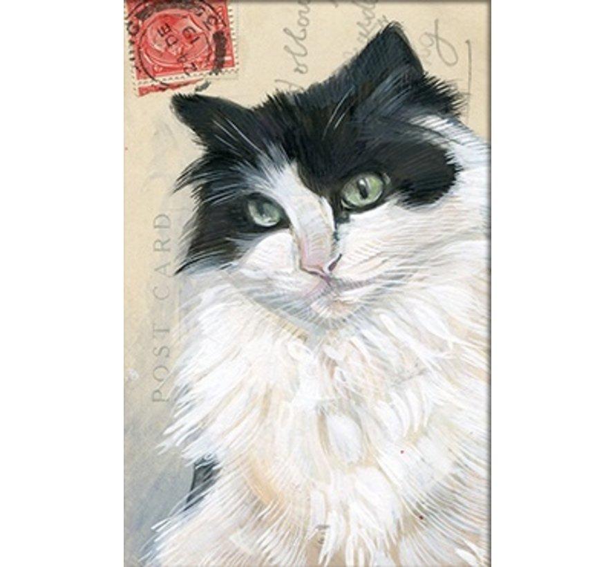 """Luxe Kaart met envelop """"Kat zwart/wit"""" 11,5x17,5cm"""