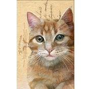 "Meander Luxe Kaart met envelop ""Kat rood"" 11,5x17,5cm"
