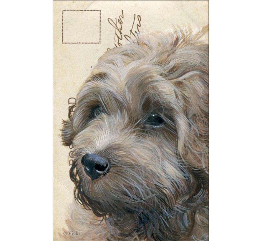 "Luxe Kaart met envelop ""Hond Labradoodle"" 11,5x17,5cm"