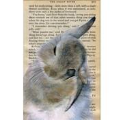 """Meander Luxe Kaart met envelop """"Konijn wast oor"""" 11,5x17,5cm"""