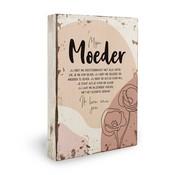 "Miko Houten tekstbord Fleurige deco ""Moeder"""