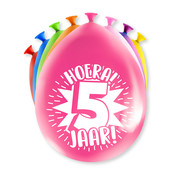 PaperDreams Ballonnen Hoera 5 jaar 8 stuks 20 cm