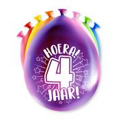 PaperDreams Ballonnen Hoera 4 jaar 8 stuks 20 cm