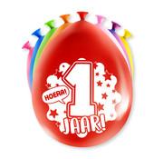 PaperDreams Ballonnen Hoera 1 jaar 8 stuks 20 cm