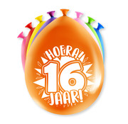 PaperDreams Ballonnen Hoera 16 jaar 8 stuks 20 cm