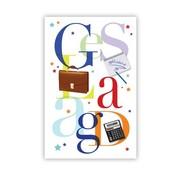 "PC Wenskaart Geslaagd ""Letters met tas, schrift en rekenmachine"""
