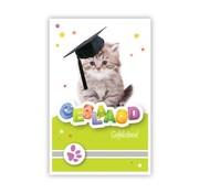 """PC Wenskaart Geslaagd """"Kitten met hoed"""""""