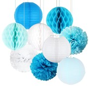 Joni's DecoBollen Licht blauw & Wit 15 cm 9 stuks
