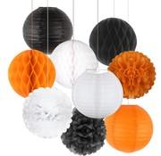 Joni's DecoBollen  Zwart, Oranje & Wit 15 cm 9 stuks