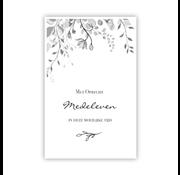 """PC Condoleance kaart """"Bladeren en bloemen aan bovenzijde"""""""