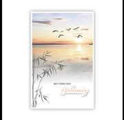 """PC Condoleance kaart """"Zonsondergang en vogels"""""""