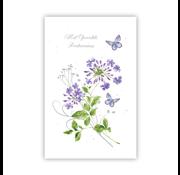 "PC Condoleance kaart ""Lila bloemen en vlinders"""