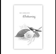"""PC Condoleance kaart """"Liggende witte roos"""""""