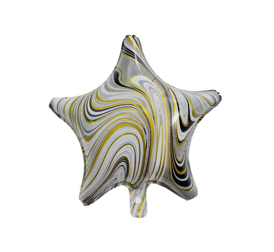 "Folieballon Marble Star ""Zwart-Goud"" 45x45 cm"