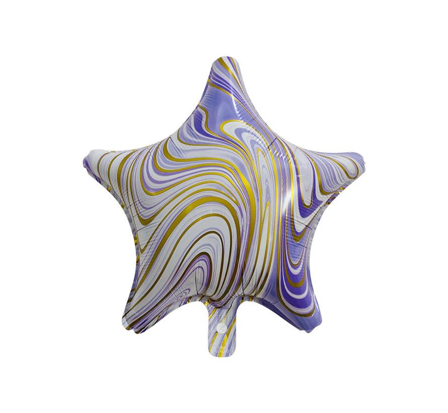 "Folieballon Marble Star ""Paars-Goud"" 45x45 cm"