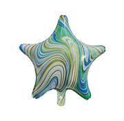 "Joni's Winkel Folieballon Marble Star ""Turquoise-Goud"" 45x45 cm"