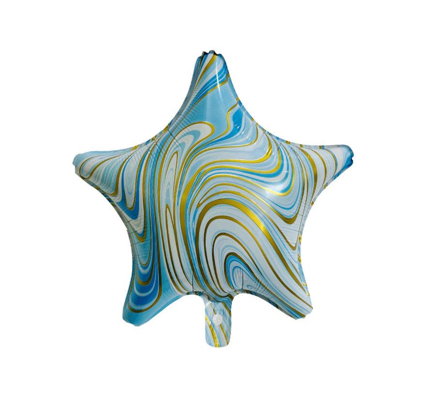 "Folieballon Marble Star ""Blauw-Goud"" 45x45 cm"