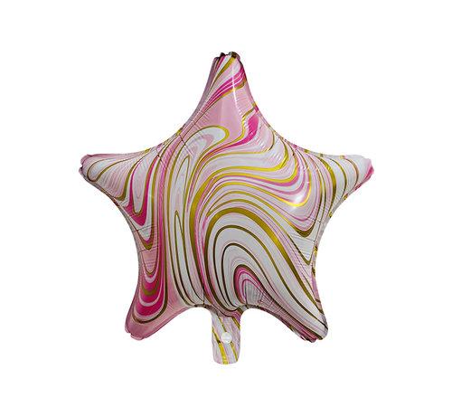 """Joni's Winkel Folieballon Marble Star """"Roze-Goud"""" 45x45 cm"""