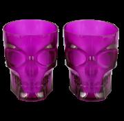 "Plastic Halloween glazen Skull ""Paars"" 4 stuks"