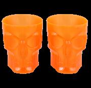 """Plastic Halloween glazen Skull """"Orajne"""" 4 stuks"""