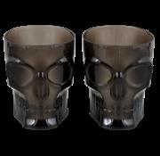 "Plastic Halloween glazen Skull ""Zwart"" 4 stuks"
