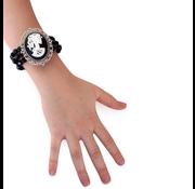 PartyXplosion Armband zwart met kralen en camee