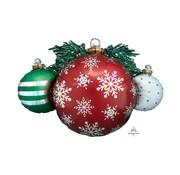 Anagram Super Shape Holografische Folieballon Kerstballen 88 x 60 cm