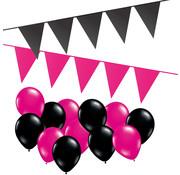 Joni's Winkel Versierpakket Ballonnen + Vlaggenlijnen Hot Pink & Zwart