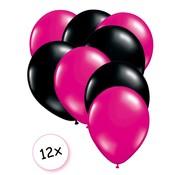 Joni's Winkel Premium Quality Ballonnen Hot pink & Zwart 12 stuks 30 cm