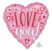Anagram Standard Shape Folieballon Love You White Dots 43 x 43 cm